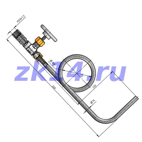 Отборное устройство давления угловое 16-200У-НТМ-Ст.20(15с54бк)