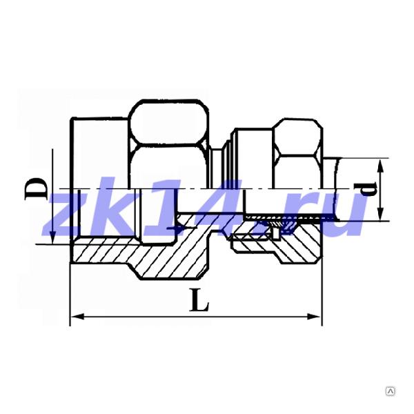 Соединение навертное с зажимным и упорным кольцами СН8-М20х1,5-12Х18Н10Т