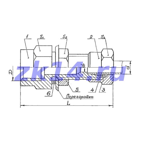 Соединение с зажимным и упорным кольцами СПН10-М20х1,5