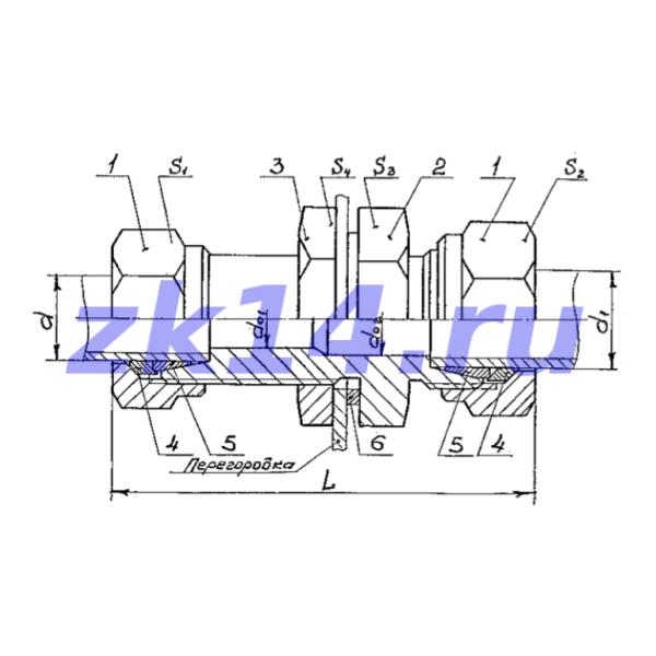 Соединение проходное переборочное СПП-14 Ст.20