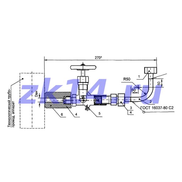 Закладная конструкция ЗК14-2-10-2009 С10-150У отборное устройство давления угловое на t до 70°С