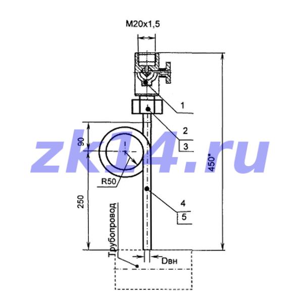 Закладная конструкция ЗК14-2-12-2009 МК1,6-130П отборное устройство давления прямое на t свыше 70°С