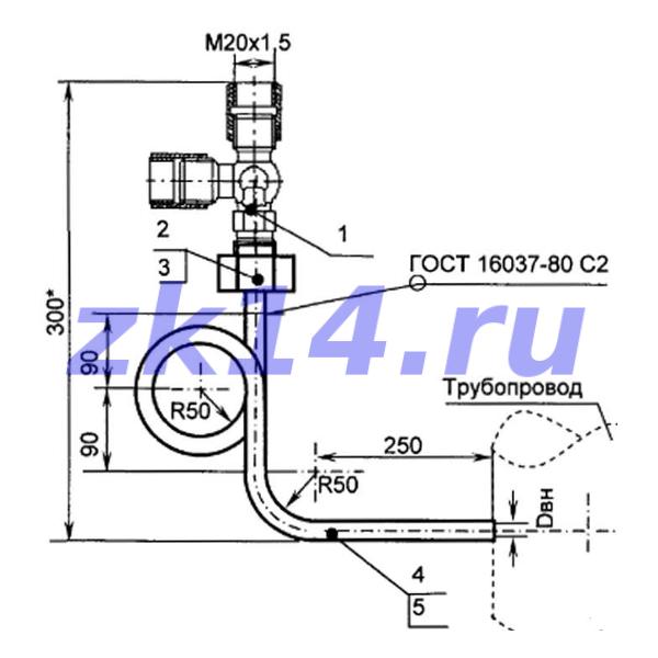 Закладная конструкция ЗК14-2-17-2009 МК1,6-150У КТНМ-1,6 отборное устройство давления угловое на t свыше 70°С